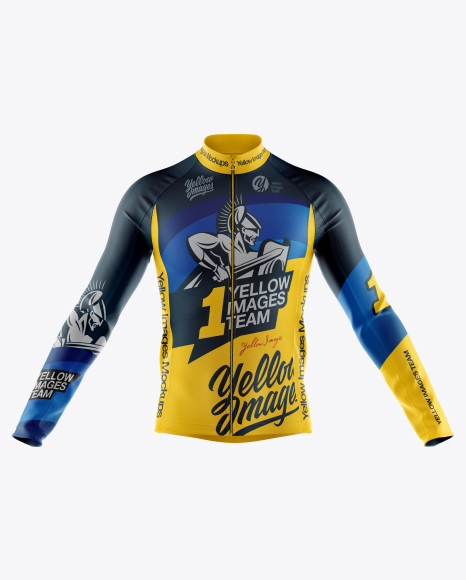 Men's Full-Zip Cycling Jersey With Long Sleeve Mockup - Front View