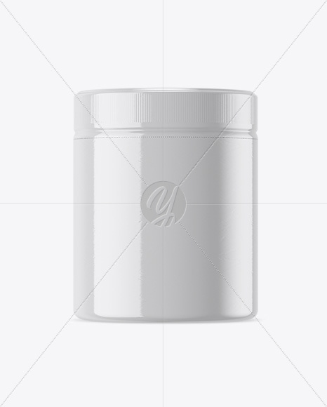 Plastic Jar in Glossy Shrink Sleeve Mockup