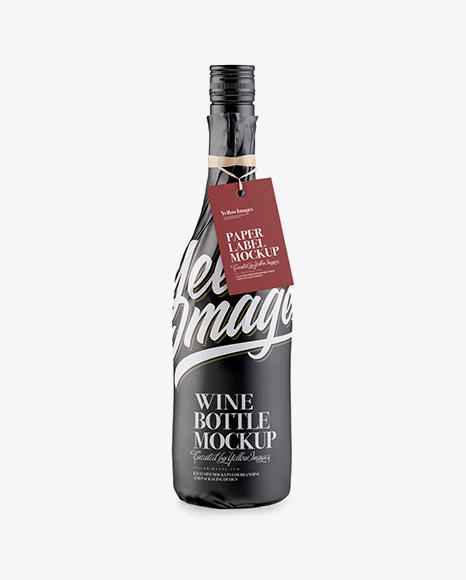 Download Wine Bottle in Glossy Paper Wrap w/ Label Mockup Object Mockups