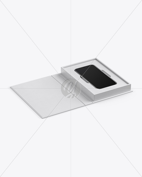 Textured Gift Box With Apple iPhone X Mockup - Half Side View