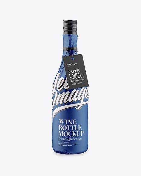 Wine Bottle in Matte Paper Wrap w/ Label Mockup