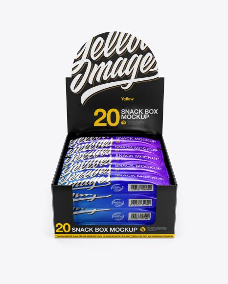 Download 20 Metallic Snack Bars Box Mockup - Front View (High-Angle Shot) Object Mockups