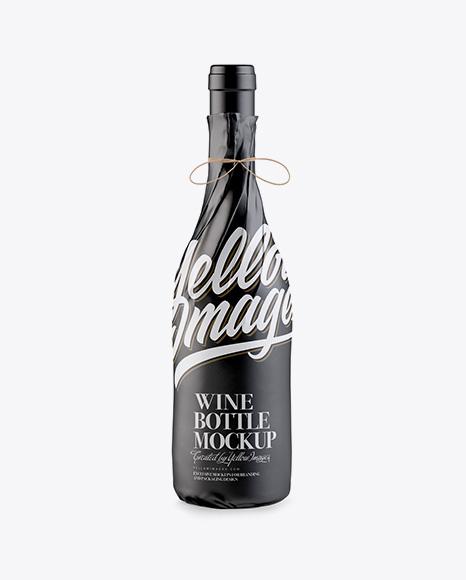 Download Wine Bottle in Glossy Paper Wrap Mockup Object Mockups