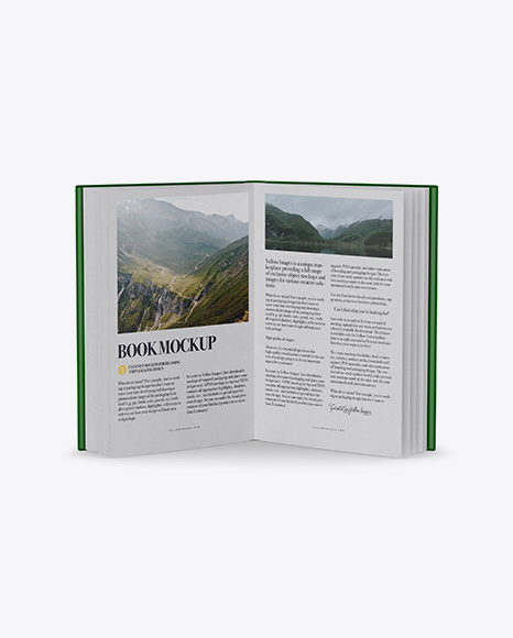 Download Free Opened Book W/ Glossy Cover Mockup - Front View (High-Angle Shot) PSD Template