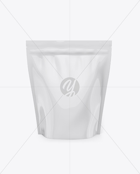 Glossy Stand Up Pouch Mockup -  Front View
