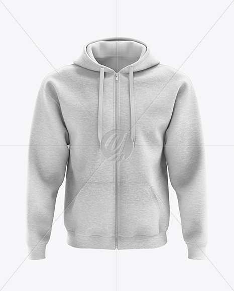Men's Heather Full-Zip Hoodie mockup (Front View)