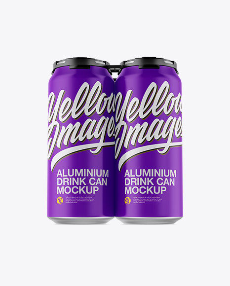 Download Psd Mockup 4 Pack Aluminum Beer Beverage Can Carbonated Cola Cold Drink Energy Drink Front View Golden Layer Holder Holder Metal Matte Mockup Psd