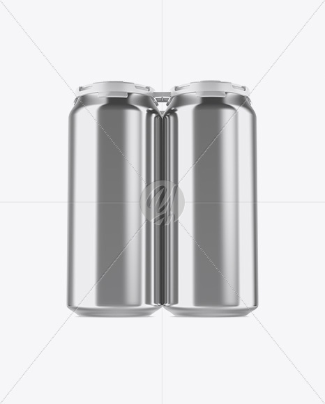 Download Pack With 4 Metallic Cans With Plastic Holder Mockup Front View In Can Mockups On Yellow Images Object Mockups PSD Mockup Templates