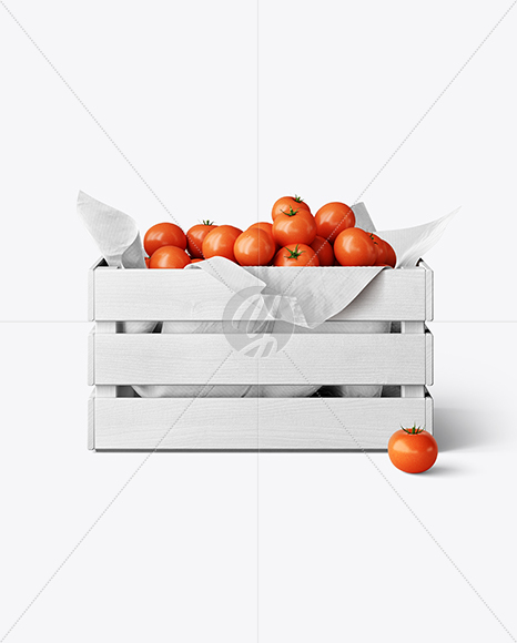 Wooden Crate With Tomatoes Mockup