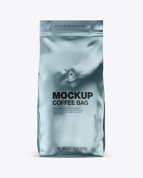 Download Glossy Metallic Coffee Bag with Valve Mockup - Front View Object Mockups