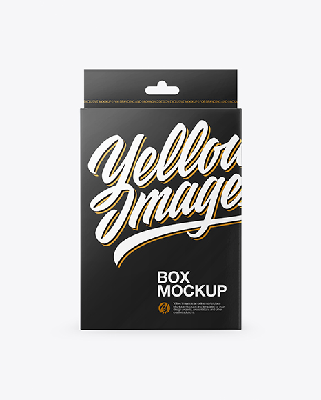 Download Free Glossy Box with Hang Tab Mockup - Front View PSD Template