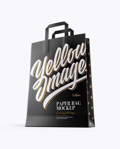 Free Kraft Shopping Bag Half Side View Mockups