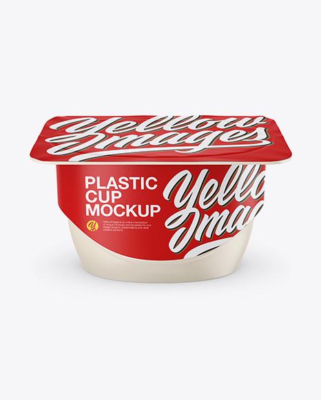 Download Matte Yogurt Cup Mockup - Front View (High-Angle Shot) Object Mockups