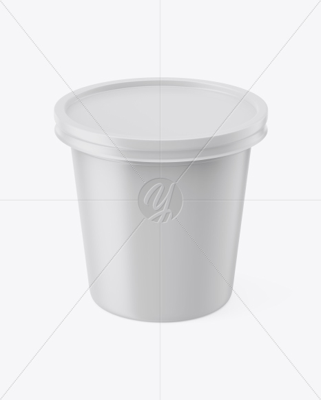 Matte Sour Cream Cup Mockup - Front View (High-Angle Shot)