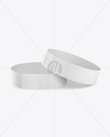 Two Paper Wristbands Mockup - Front View (High Angle Shot)