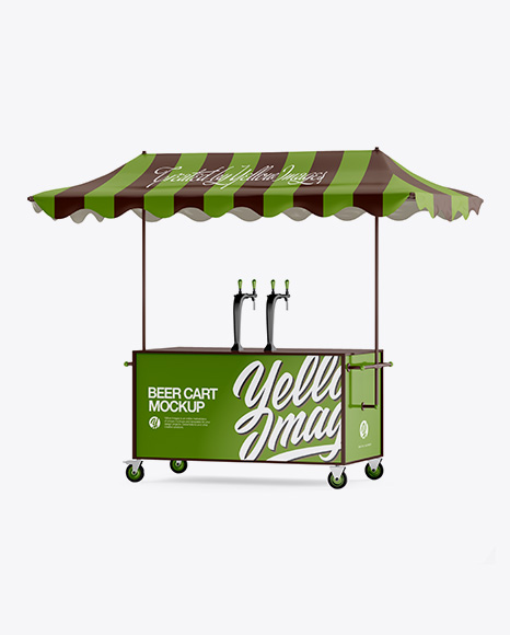 Download Beer Cart With Awning Mockup - Half Side View Object Mockups
