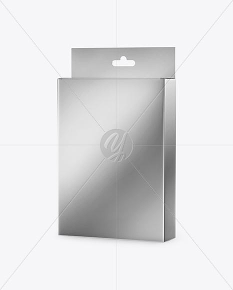 Metallic Box with Hang Tab Mockup - Half Side View
