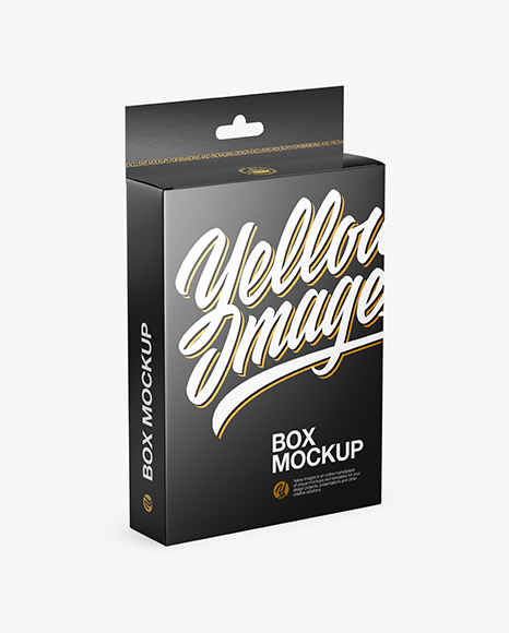 Download Free Glossy Box with Hang Tab Mockup - Half Side View (High-Angle Shot) PSD Template