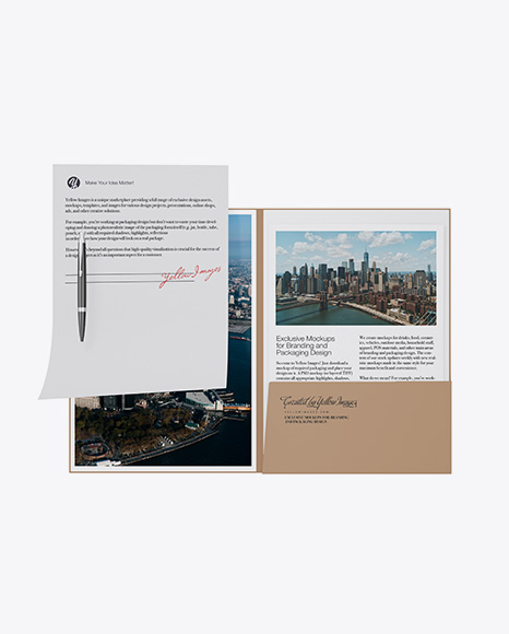 Download Kraft Folder with Papers and Pen Mockup Object Mockups