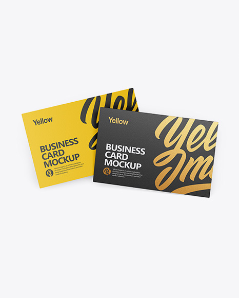 Download Two Textured Business Cards Mockup Front View In Stationery Mockups On Yellow Images Object Mockups PSD Mockup Templates