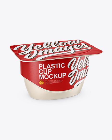 Download Matte Yogurt Cup Mockup - Half Side View (High-Angle Shot) Object Mockups