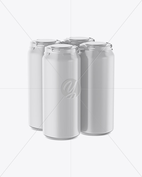 Pack with 4 Matte Cans with Plastic Holder Mockup - Half Side View (High-Angle Shot)
