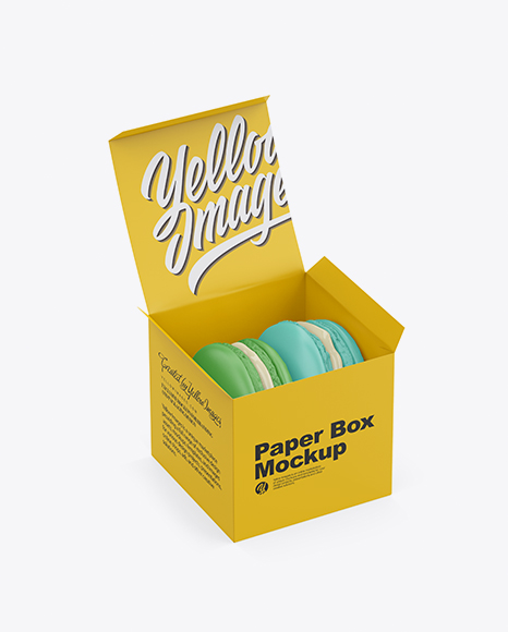 Download Opened Paper Box With Macarons Mockup - Half Side View Object Mockups