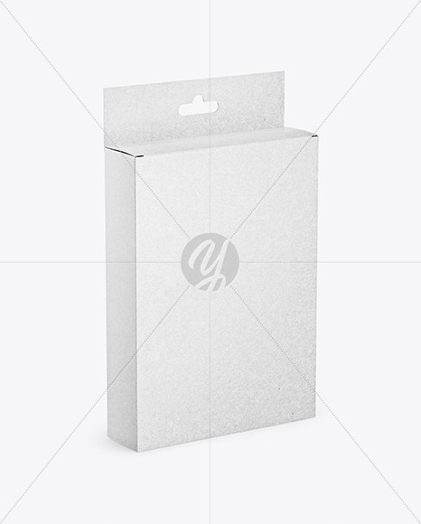 Kraft Box with Hang Tab Mockup - Half Side View (High-Angle Shot)