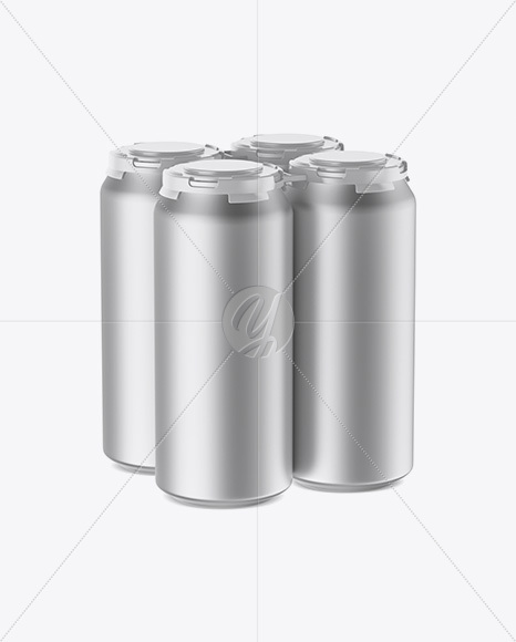 Pack with 4 Matte Metallic Cans with Plastic Holder Mockup - Half Side View (High-Angle Shot)