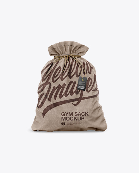 Download Glossy Gym Sack W Label Mockup Front View Yellowimages