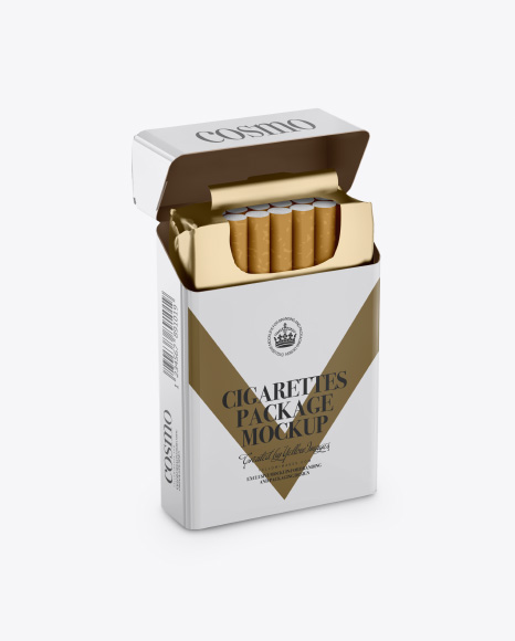 Download Cigarettes Package Mockup - Half Side View Object Mockups