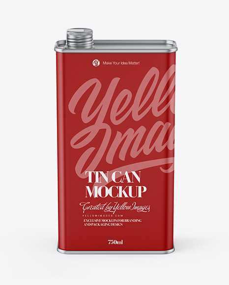 Matte Tin Can Mockup - Front View