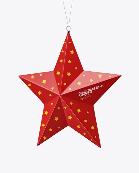 Glossy Christmas Star Toy Mockup - Half Side View