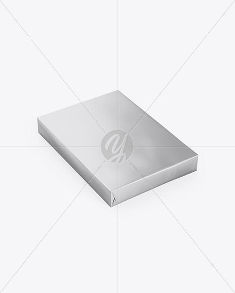 Metallic A4 Size Paper Sheet Pack Mockup - Half Side View