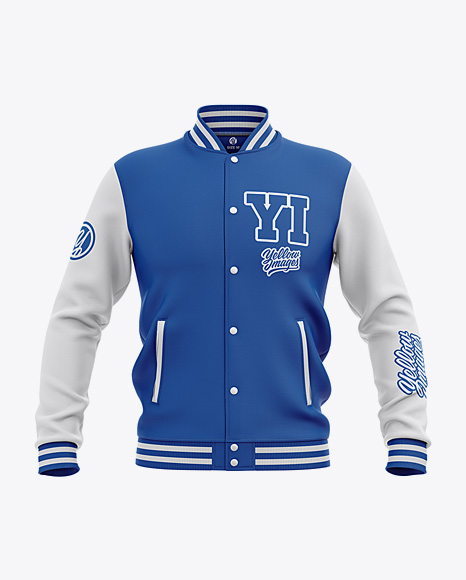 Men's Varsity Jacket Mockup - Front View - Baseball Bomber Jacket