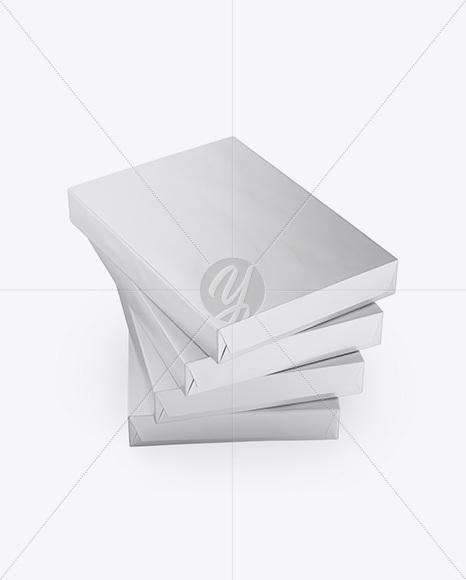 4 Matte Metallic A4 Size Paper Sheet Packs Mockup - Half Side View