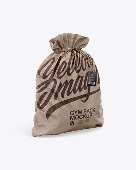 Download Textured Gym Sack w/ Label Mockup - Half Side View Object Mockups