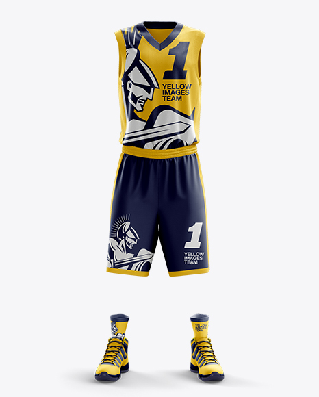 Download Basketball Kit w/ V-Neck Tank Top Mockup / Front View Object Mockups