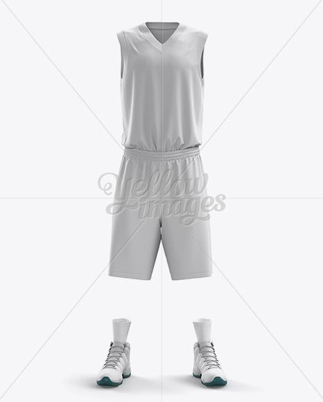 Basketball Kit w/ V-Neck Tank Top Mockup / Front View