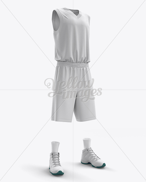 Basketball Kit w/ V-Neck Tank Top Mockup / Half-Turned View