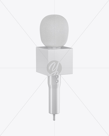 Glossy Microphone Mockup - Half Side View