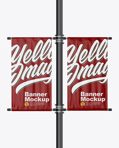 Download Free Two Glossy Banners on Pillar Mockup - Front View PSD Template
