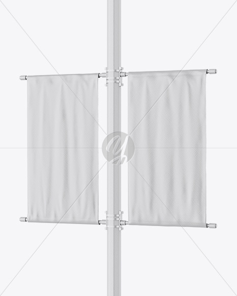Two Glossy Banners on Pillar Mockup - Half Side View