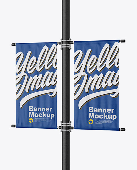 Download Free Two Matte Banners Mockup - Half Side View PSD Template