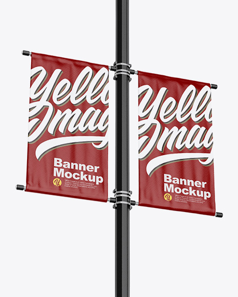 Download Two Glossy Banners Mockup - Half SIde View Object Mockups