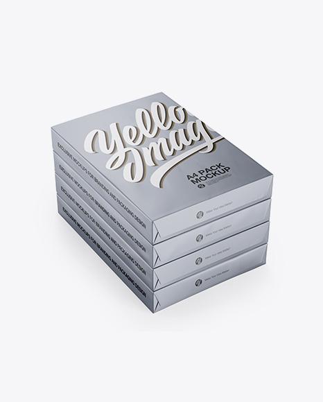 Download 4 Matte Metallic A4 Size Paper Sheet Packs Mockup - Half Side View Object Mockups