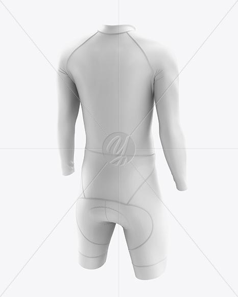 Men's Cycling Skinsuit LS mockup (Back Half Side View)