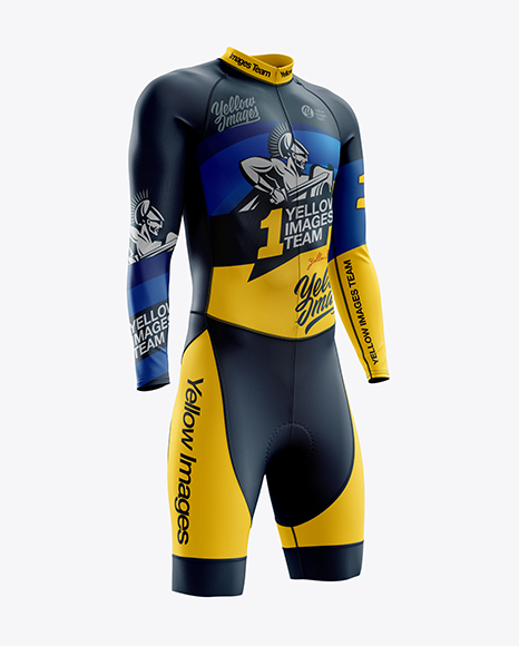 Download Free Men's Cycling Skinsuit LS mockup (Right Half Side View) PSD Template