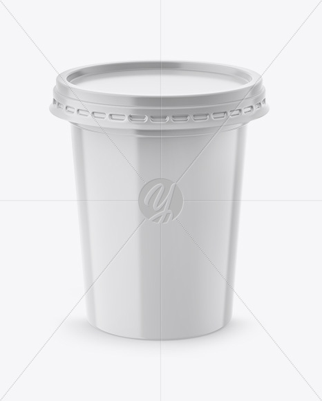 500g Plastic Cup Mockup - Front & Top Views (High-Angle Shot)