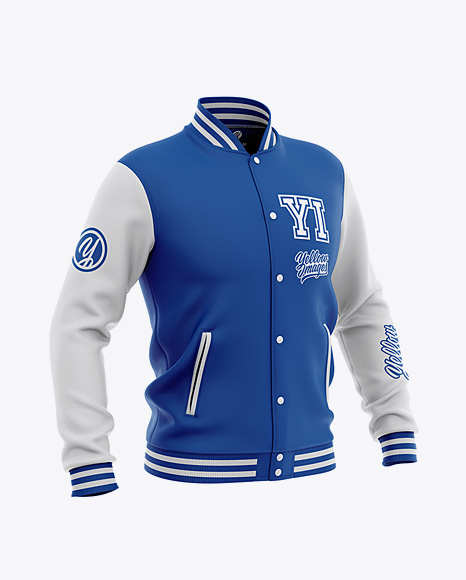 Men's Varsity Jacket Mockup - Front Half-Side View - Baseball Bomber Jacket